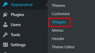 Menu widgets di sidebar WordPress